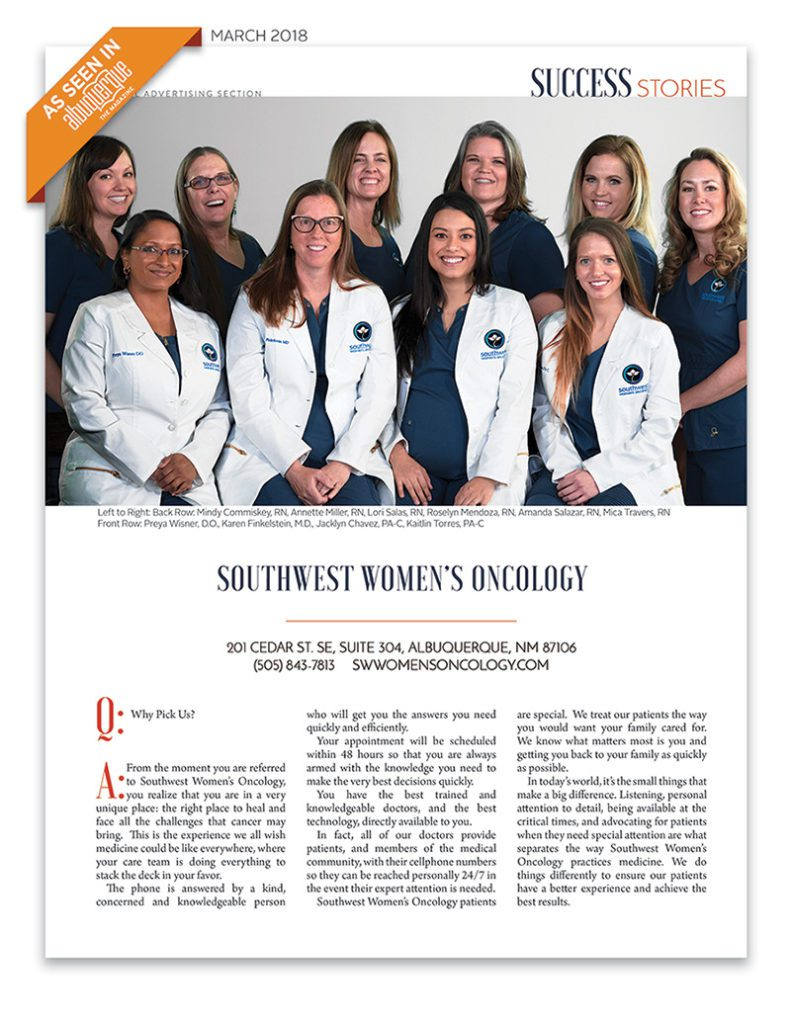 SWWO Success Stories March 2018 Oncology team featured in Albuquerque The Magazine