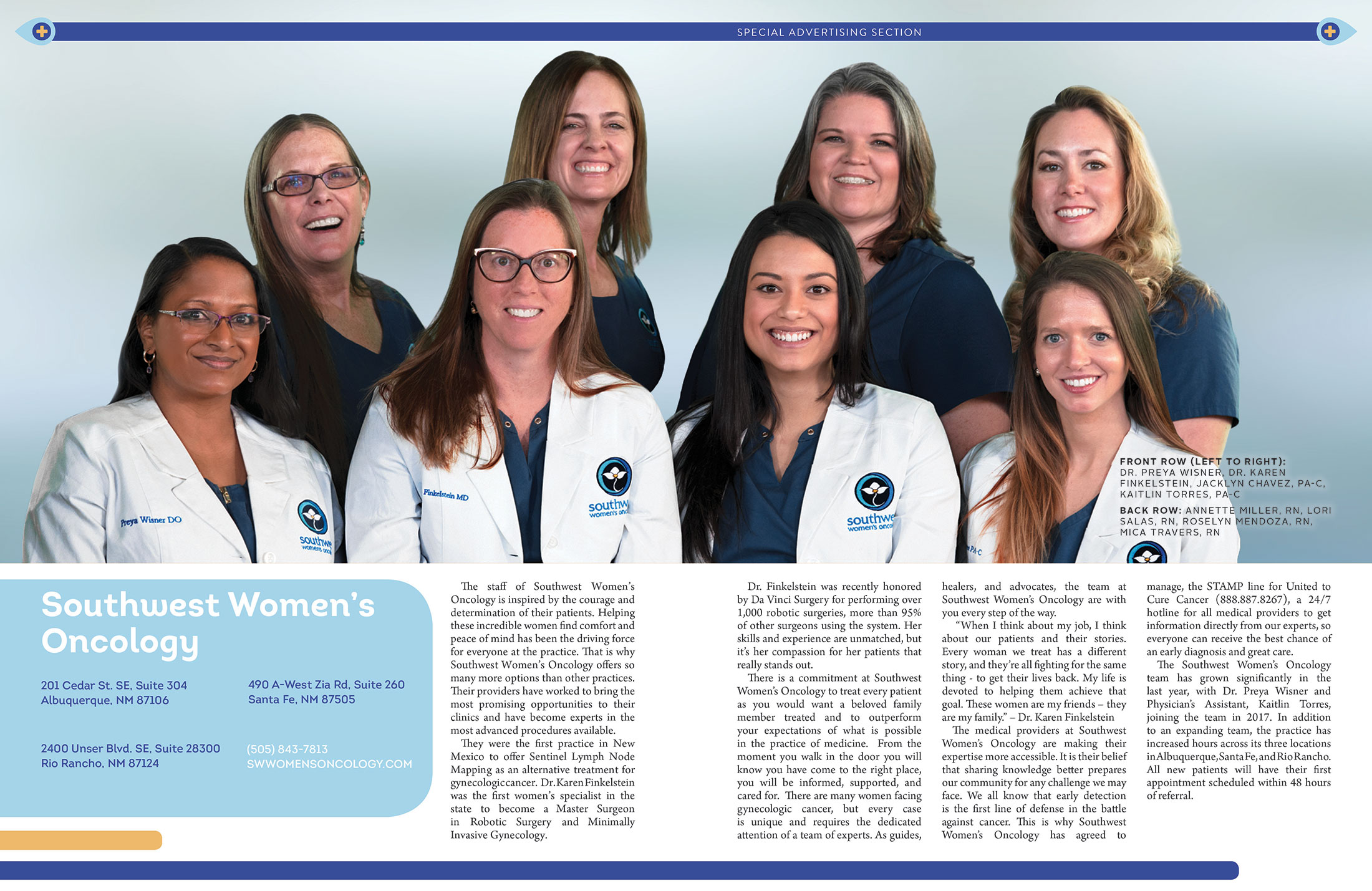 new mexico's leading womens cancer treatment team